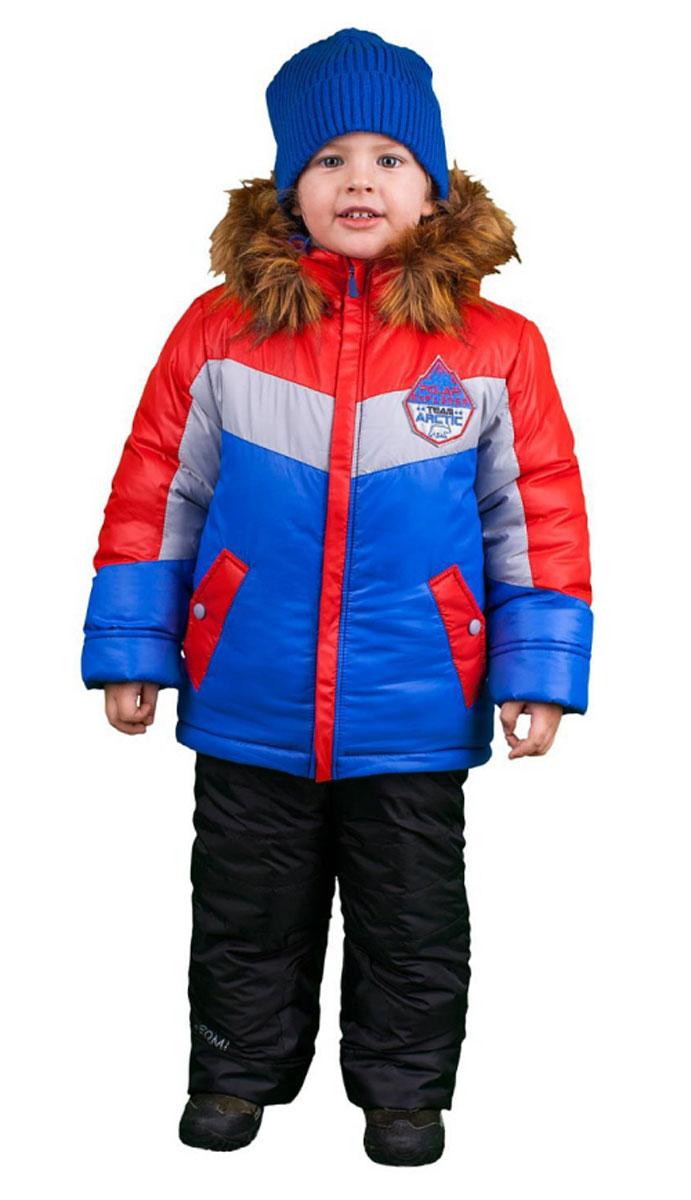 Комплект для мальчика Boom!: куртка, полукомбинезон, цвет: синий, красный, черный. 64361_BOB_вар.2. Размер 86, 1,5-2 года64361_BOB_вар.2Комплект для мальчика Boom! состоит из куртки и полукомбинезона. Комплект выполнен из водонепроницаемой и ветрозащитной ткани. Комбинированная подкладка, изготовленная из полиэстера и вискозы, содержит мягкие флисовые и гладкие вставки. В качестве утеплителя используется легкий гипоаллергенный материал - эко-синтепон. Изделие легко стирается, быстро сушится, приятно носится. Куртка с несъемным капюшоном застегивается на пластиковую молнию с защитой подбородка и двумя ветрозащитными планками. Подкладка курточки (кроме рукавов) выполнена из мягкого теплого флиса. Капюшон декорирован съемной опушкой из искусственного меха. На рукавах имеются трикотажные манжеты. По краю куртки предусмотрена скрытая резинка со стопперами. Спереди расположены два втачных кармана с клапанами на кнопках. Модель оформлена крупным принтом на спинке, украшена на груди нашивкой.Полукомбинезон застегивается на пластиковую молнию с ветрозащитной планкой. Изделие дополнено съемными эластичными наплечными лямками, регулируемыми по длине. На талии полукомбинезона предусмотрена широкая эластичная резинка. Спереди расположены два втачных кармана. Снизу брючин имеются эластичные манжеты с прорезиненными полосками. Изделие дополнено износостойкими вставками.Комплект оснащен светоотражающими элементами для безопасности ребенка в темное время суток.Температурный режим до -30°С.