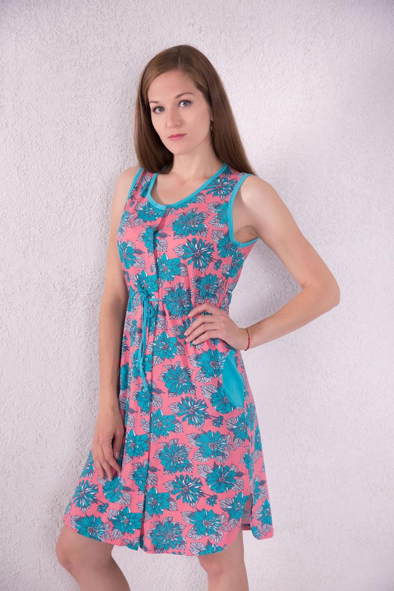 Платье-халат Violett, цвет: розовый, голубой. 7117110104. Размер XL (50)7117110104Платье-халат Violett выполнено из натурального хлопка. Платье с круглым вырезом горловины застегивается на пуговицы по всей длине. Спереди расположены два кармана. Модель оформлена цветочным принтом. На талии изделие оснащено затягивающимся шнурком.