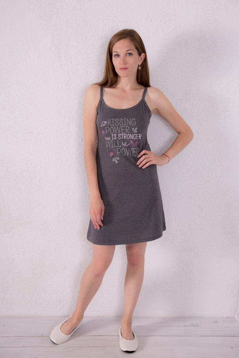 Платье домашнее Violett, цвет: темно-серый. 7117110301. Размер M (46)7117110301Платье домашнее Violett изготовлено из натурального хлопка. Модель на бретельках оформлена надписями.