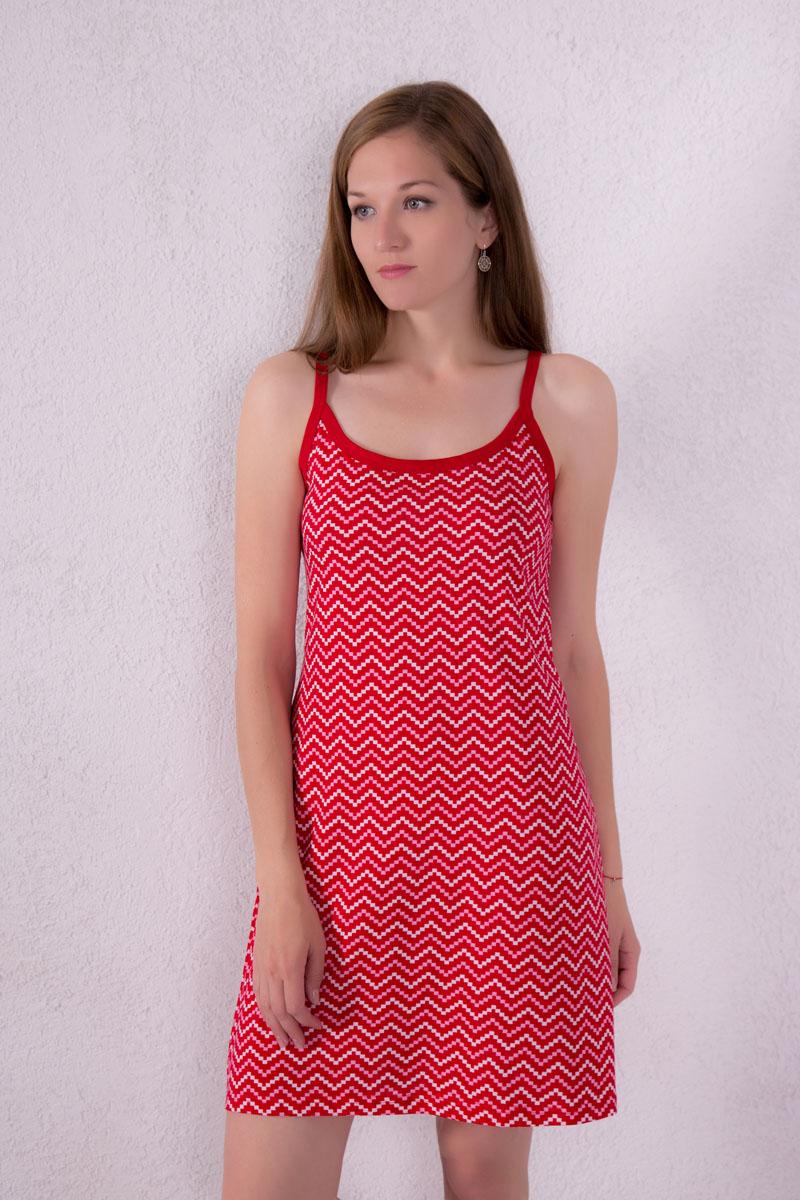 Платье домашнее Violett, цвет: красный. 7117110306. Размер M (46)7117110306Платье домашнее Violett изготовлено из натурального хлопка. Модель на бретельках оформлена интересным принтом.