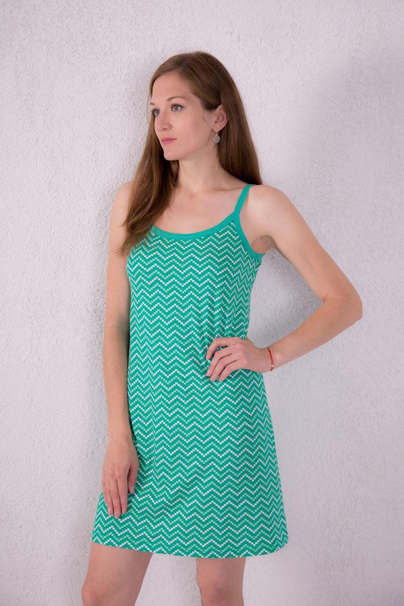 Платье домашнее Violett, цвет: зеленый. 7117110307. Размер XL (50)7117110307Платье домашнее Violett изготовлено из натурального хлопка. Модель на бретельках оформлена оригинальным принтом.