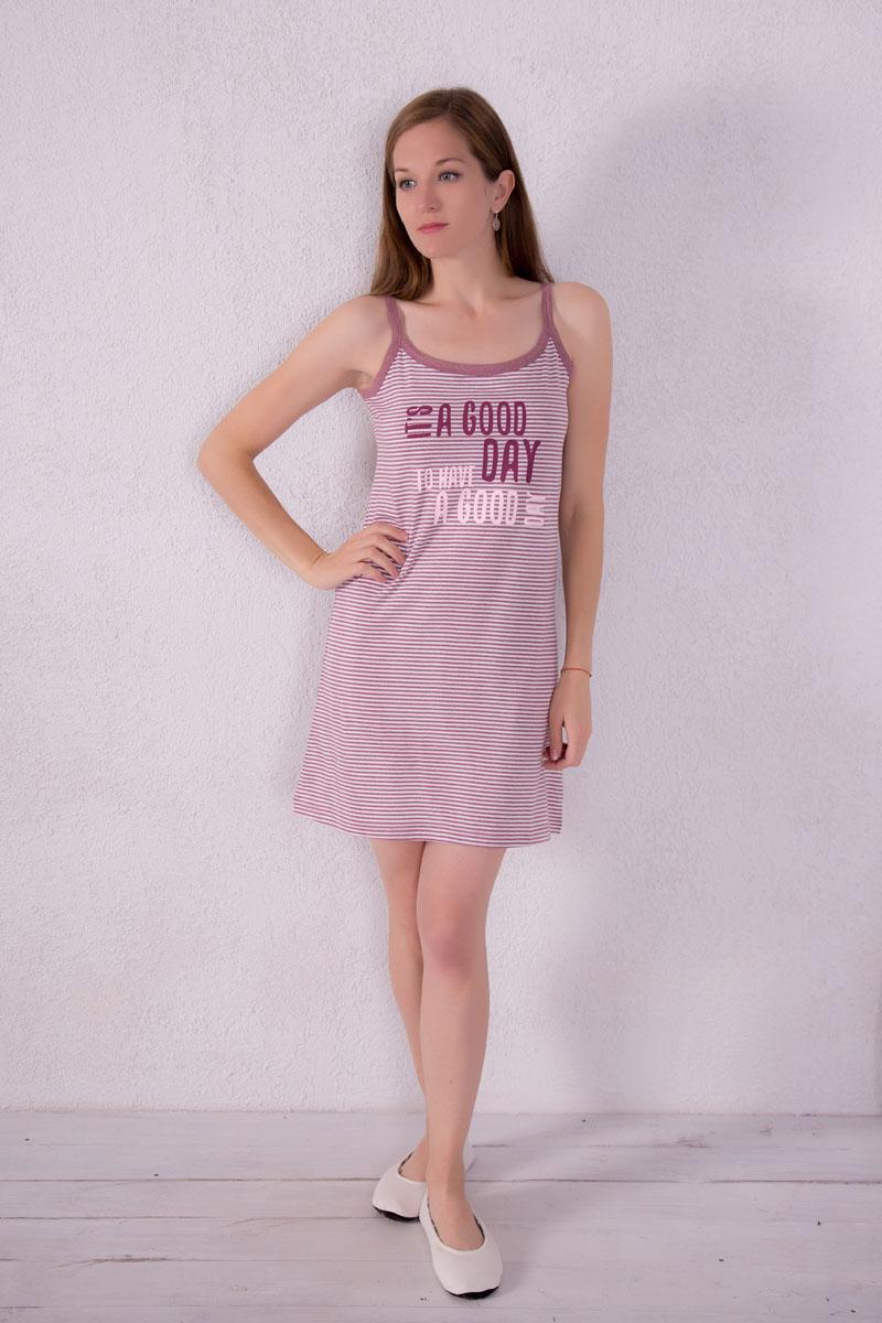 Платье домашнее Violett, цвет: лиловый. 7117110310. Размер XL (50)7117110310Платье домашнее Violett изготовлено из натурального хлопка. Модель на бретельках оформлена принтом в полоску и надписями.