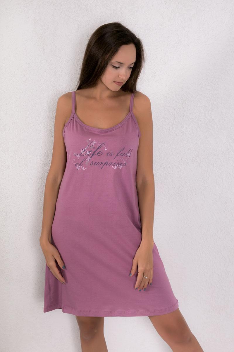 Платье домашнее Violett, цвет: лиловый. 7117110402. Размер XXL (52)7117110402Платье домашнее Violett изготовлено из натурального хлопка. Модель на бретельках оформлена интересным принтом.