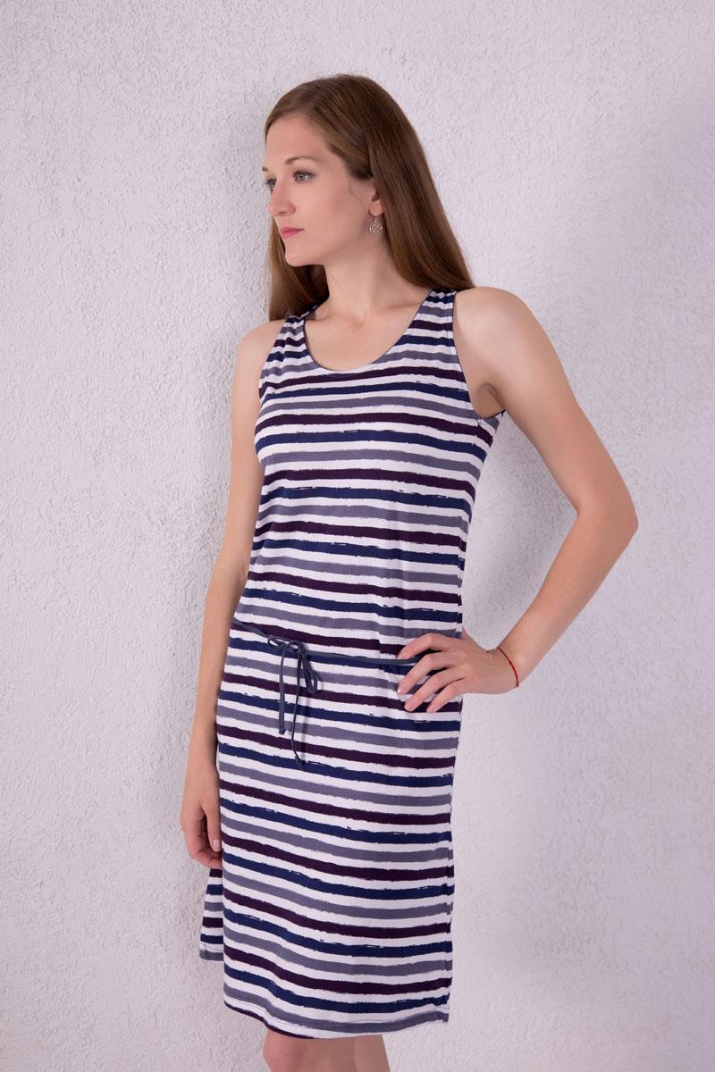 Платье домашнее Violett, цвет: синий, белый. 7117110502. Размер M (46)7117110502Платье домашнее Violett изготовлено из натурального хлопка. Модель с круглым вырезом горловины, оформлена принтом в виде полосок и дополнена эластичным поясом.