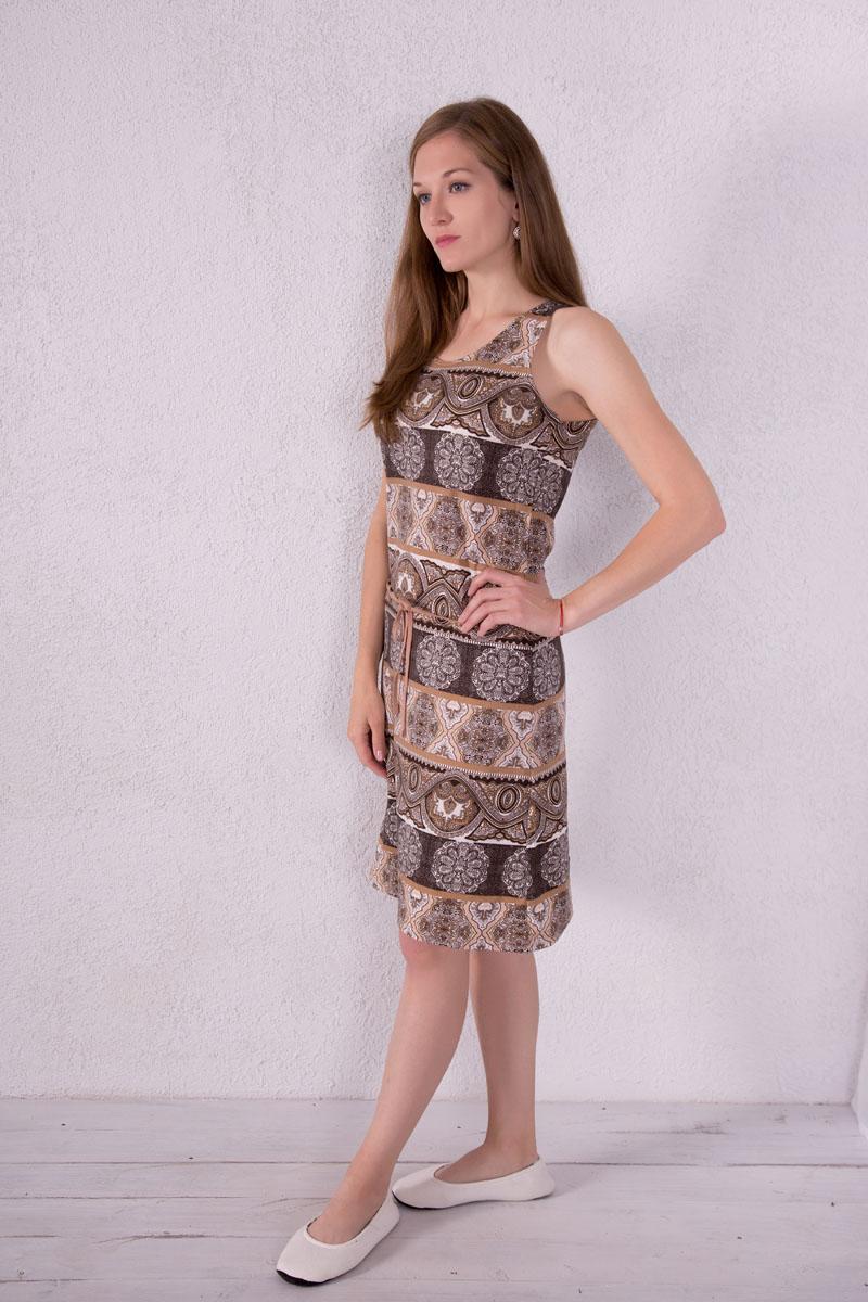 Платье домашнее Violett, цвет: бежевый. 7117110503. Размер L (48)7117110503Платье домашнее Violett изготовлено из натурального хлопка. Модель с круглым вырезом горловины, оформлена оригинальным принтом и дополнена эластичным поясом.