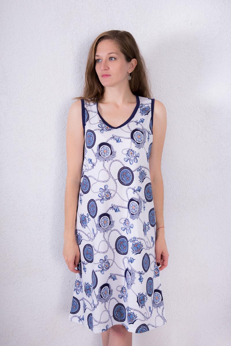 Платье домашнее Violett, цвет: белый, темно-синий. 7117110602. Размер XL (50)7117110602Домашнее платье Violett выполнено из натурального хлопка. Платье-миди с V-образным вырезом горловины и без рукавов оформлено оригинальным принтом.