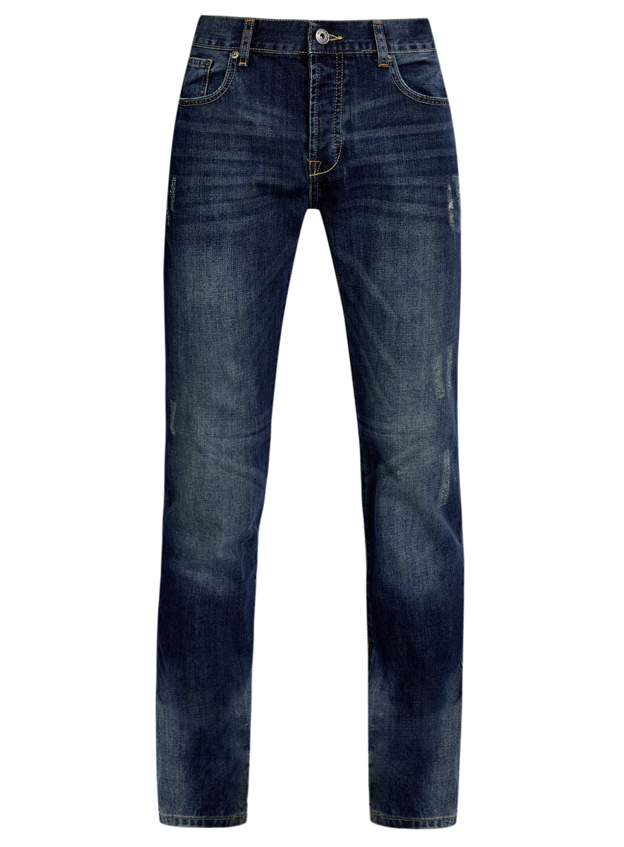 Джинсы мужские oodji, цвет: синий. 6L130047M/35771/7500W. Размер 33-32 (52-32)6L130047M/35771/7500WМужские джинсы oodji выполнены из высококачественного натурального хлопка. Джинсы зауженного к низу кроя и стандартной посадки застегиваются на пуговицу в поясе и ширинку на пуговицах, дополнены шлевками для ремня. Джинсы имеют классический пятикарманный крой: спереди модель дополнена двумя втачными карманами и одним маленьким накладным кармашком, а сзади - двумя накладными карманами. Джинсы украшены декоративными потертостями и перманентными складками.