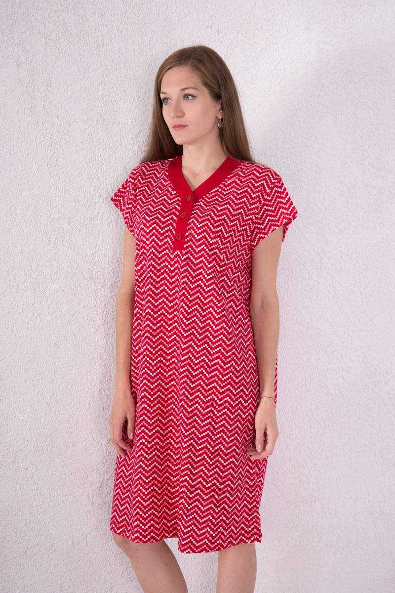 Платье домашнее Violett, цвет: красный, розовый, белый. 7117110801. Размер XXL (52)7117110801Домашнее платье Violett выполнено из натурального хлопка. Платье-миди с V-образным вырезом горловины и короткими рукавами застегивается спереди на три пуговицы. Оформлено изделие оригинальным принтом.