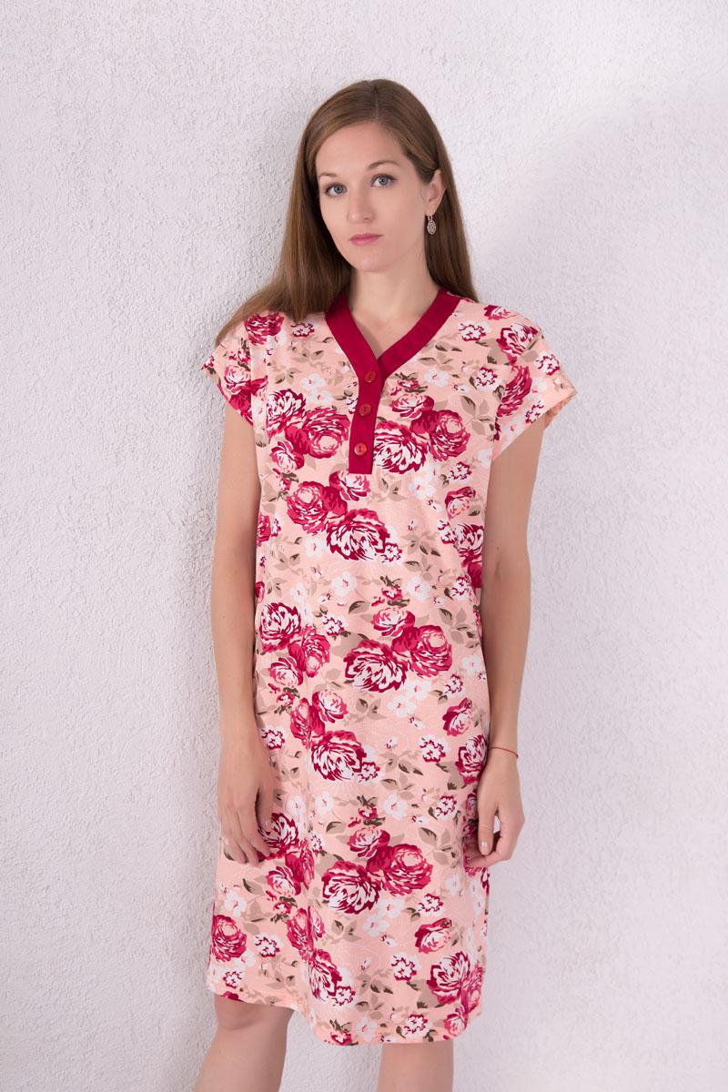 Платье домашнее Violett, цвет: персиковый, белый, бордовый. 7117110804. Размер XL (50)7117110804Домашнее платье Violett выполнено из натурального хлопка. Платье-миди с V-образным вырезом горловины и короткими рукавами застегивается спереди на три пуговицы. Оформлено изделие цветочным принтом.