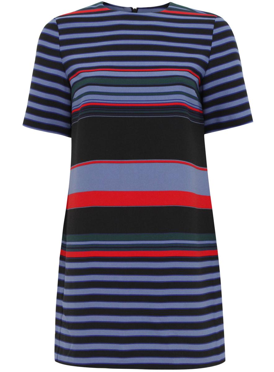 Платье oodji, цвет: черный, голубой. 21910002-2/45171/2970S. Размер 38 (44-170)21910002-2/45171/2970SСтильное платье oodji выполнено из 100% полиэстера. Модель с круглым вырезом горловины и короткими рукавами сзади застегивается на скрытую застежку-молнию. Модель оформлена принтом в полоску.