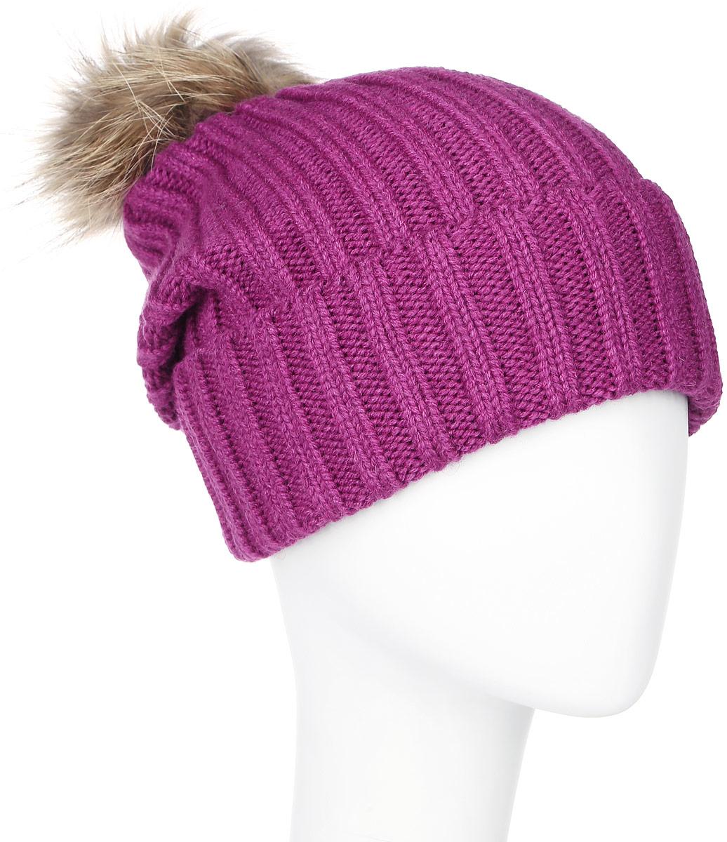 Шапка женская Marhatter, цвет: малиновый. MLH6190. Размер 56/58MLH6190Теплая женская шапка Marhatter отлично дополнит ваш образ в холодную погоду. Сочетание шерсти и акрила максимально сохраняет тепло и обеспечивает удобную посадку, невероятную легкость и мягкость.Удлиненная шапка с отворотом выполнена в лаконичном однотонном стиле и дополнена на макушке пушистым помпоном из натурального меха енота. Спереди модель дополнена небольшой металлической пластиной с изображением снежинки. Незаменимая вещь на прохладную погоду. Модель составит идеальный комплект с модной верхней одеждой, в ней вам будет уютно и тепло.Уважаемые клиенты!Размер, доступный для заказа, является обхватом головы.
