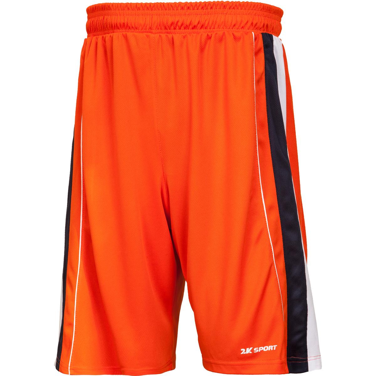 Шорты баскетбольные мужские 2K Sport Advance, цвет: оранжевый, темно-синий, белый. 130031. Размер XS (44)130031_orange/navy/whiteПрофессиональные баскетбольные шорты 2K Sport Advance созданы для того, чтобы вам ничего не мешало демонстрировать великолепную игру на паркете против самых грозных соперников. Особая сетчатая структура ткани позволяет сделать шорты практически невесомыми, сохраняя при этом прочность и эластичность. Эластичный пояс с регулируемым внутренним шнурком для комфортабельной посадки. Шорты выполнены в свободном крое с кантом чуть выше колена.