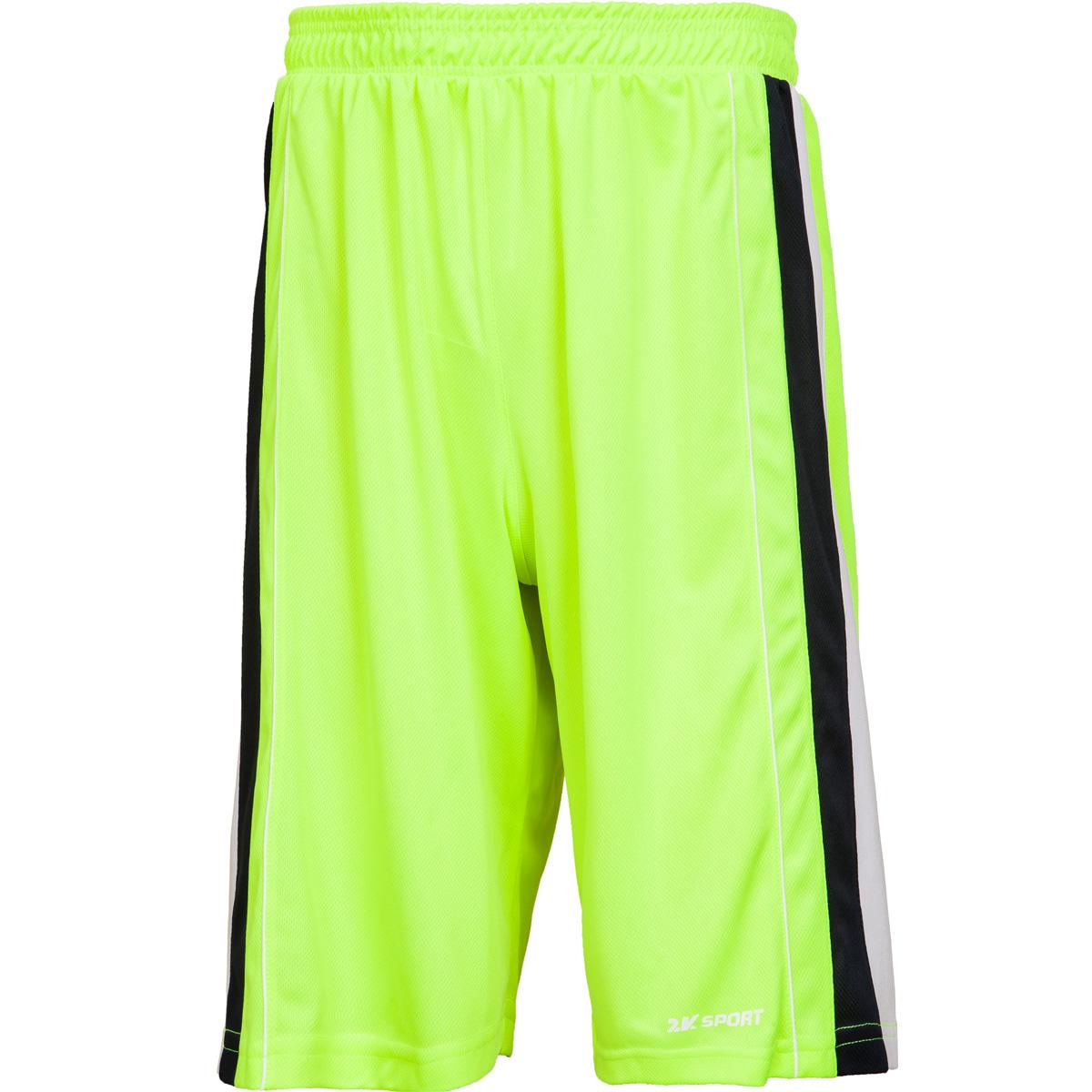 Шорты баскетбольные мужские 2K Sport Advance, цвет: неоново-желтый, темно-синий, белый. 130031. Размер XXXL (56) - Баскетбол