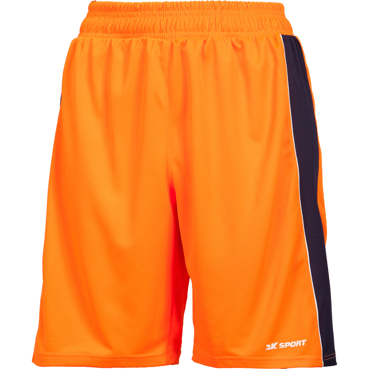 Шорты баскетбольные женские 2K Sport Advance, цвет: оранжевый, темно-синий, белый. 130033. Размер M (44/46)130033_neon-orange/navy/whiteПрофессиональные женские баскетбольные шорты 2K Sport Advance созданы для того, чтобы вам ничего не мешало демонстрировать великолепную игру на паркете против самых грозных соперников. Особая сетчатая структура ткани позволяет сделать шорты практически невесомыми, сохраняя при этом прочность и эластичность. Эластичный пояс с регулируемым внутренним шнурком для комфортабельной посадки. Шорты выполнены в свободном крое с кантом чуть выше колена.