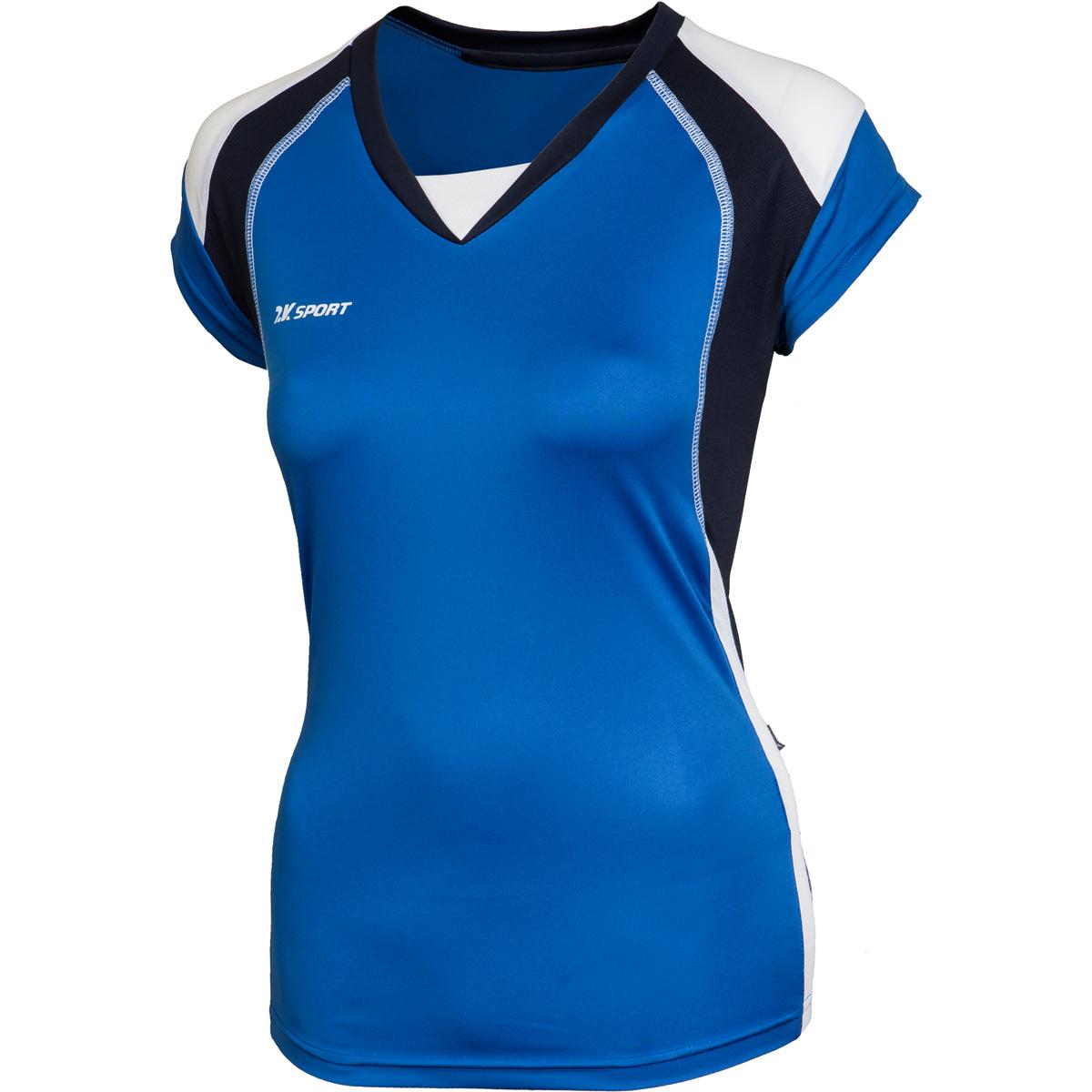 Футболка волейбольная женская 2K Sport Energy, цвет: синий, темно-синий, белый. 140042. Размер XXS (38/40)140042_royal/navy/whiteЖенская волейбольная форма Energy подкупает своей простотой и изящностью. Футболка без рукавов из ткани повышенной прочности отделана контрастными вставками по бокам и небольшим заниженным воротником. Идеальный выбор как для профессионалов, так и для любителей. Плотность ткани: 140 г/м.кв.