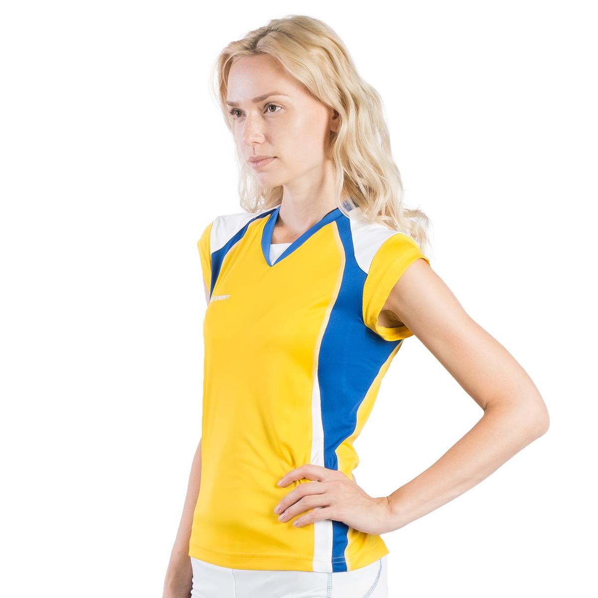 Футболка волейбольная женская 2K Sport Energy, цвет: желтый, синий, белый. 140042. Размер L (46/48)140042_yellow/royal/whiteЖенская волейбольная форма Energy подкупает своей простотой и изящностью. Футболка без рукавов из ткани повышенной прочности отделана контрастными вставками по бокам и небольшим заниженным воротником. Идеальный выбор как для профессионалов, так и для любителей. Плотность ткани: 140 г/м.кв.