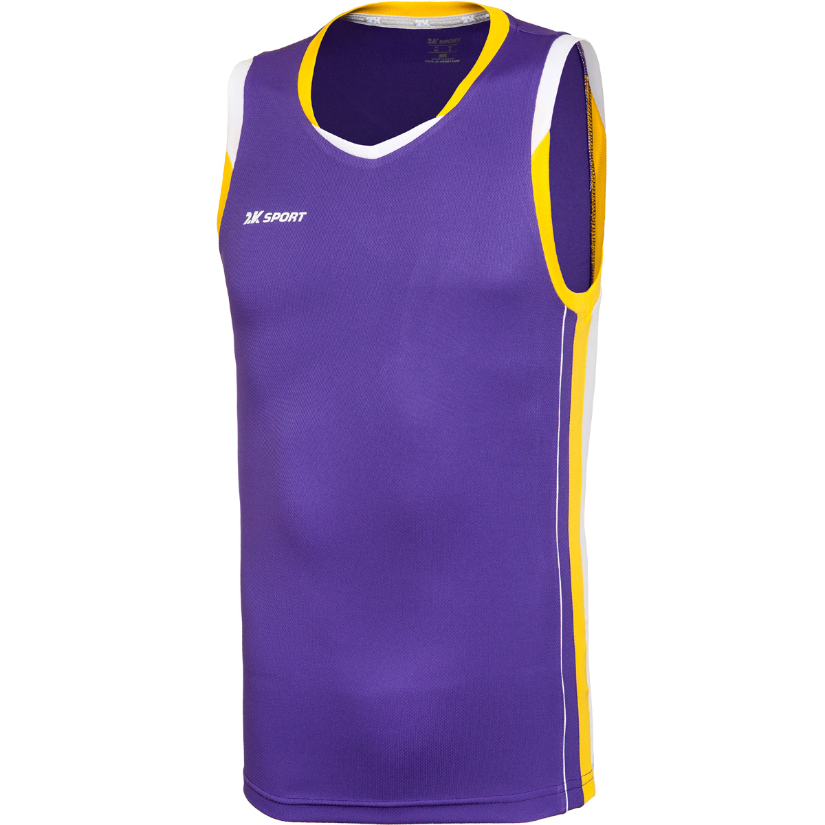 Майка баскетбольная мужская 2K Sport Advance, цвет: фиолетовый, желтый, белый. 130030. Размер XXL (54)130030_violet/yellow/whiteПрофессиональная баскетбольная игровая майка от 2K Sport создана для того, чтобы вам ничего не мешало демонстрировать великолепную игру на паркете против самых грозных соперников. Особая сетчатая структура ткани позволяет сделать майку практически невесомой, сохраняя при этом прочность и эластичность. Стильный двухцветный кант по вороту и рукаву. Боковые контрастные вставки.