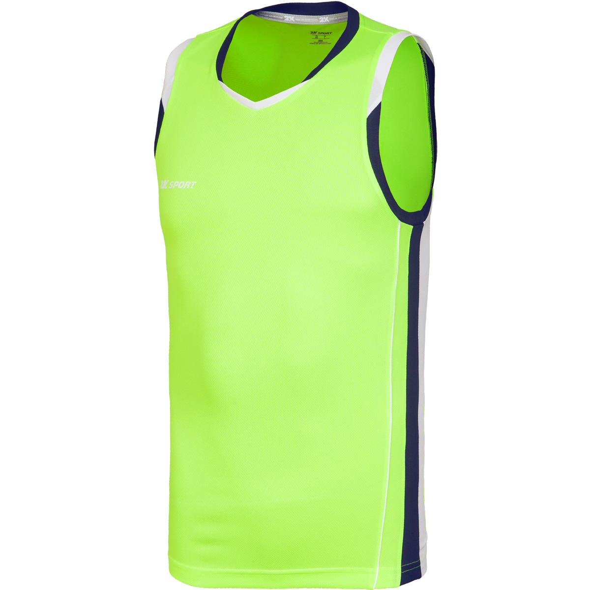 Майка баскетбольная мужская 2K Sport Advance, цвет: неоново-желтый, темно-синий, белый. 130030. Размер S (46) - Баскетбол