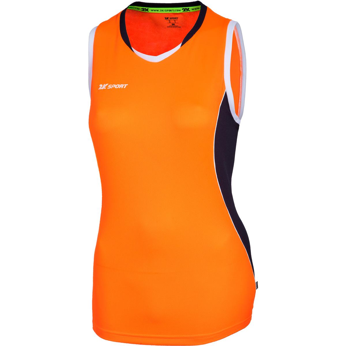 Майка баскетбольная женская 2K Sport Advance, цвет: оранжевый, темно-синий, белый. 130032. Размер L (46/48)130032_neon-orange/navy/whiteПрофессиональная баскетбольная игровая майка от 2K Sport создана для того, чтобы вам ничего не мешало демонстрировать великолепную игру на паркете против самых грозных соперников. Полуприлегающий силуэт подчеркивает женственную фигуру и обеспечивает комфорт во время движения. Оригинальные цветовые решения для красивых побед.