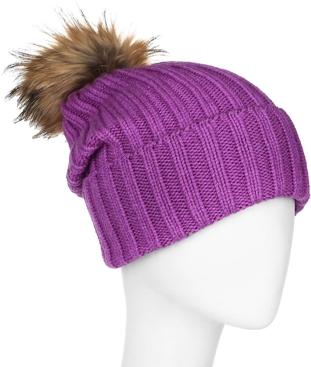 Шапка женская Marhatter, цвет: светло-фиолетовый. MLH6190. Размер 56/58MLH6190Теплая женская шапка Marhatter отлично дополнит ваш образ в холодную погоду. Сочетание шерсти и акрила максимально сохраняет тепло и обеспечивает удобную посадку, невероятную легкость и мягкость.Удлиненная шапка с отворотом выполнена в лаконичном однотонном стиле и дополнена на макушке пушистым помпоном из натурального меха енота. Спереди модель дополнена небольшой металлической пластиной с изображением снежинки. Незаменимая вещь на прохладную погоду. Модель составит идеальный комплект с модной верхней одеждой, в ней вам будет уютно и тепло.Уважаемые клиенты!Размер, доступный для заказа, является обхватом головы.