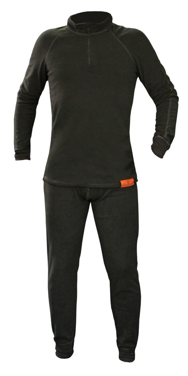 Комплект термобелья Woodland ThermoLine ZIP: брюки, кофта, цвет: черный. 57390. Размер L (48/50)ThermoLine ZIPКомплект термобелья Woodland ThermoLine изготавливается из качественного полиэстера. Может использоваться как одежда первого слоя (термобельё), так и как утепляющий флисовый второй слой с другими моделями термобелья Woodland. Материал изделия эластичный, легко тянется. Элементы кроя соединяются плоскими швами, которые при натяжении и под давлением не врезаются в кожу, не вызывают потертостей и ссадин. Комплект термобелья Woodland ThermoLine подходит для активного отдыха в зимний период, для повседневного ношения и длительного пребывания на открытом воздухе в холодном климате. Комплект термобелья Woodland ThermoLine комфортен в использовании, при продолжительном ношении не вызывает зуда. Материал изделия отводит влагу от тела и согревает. При намокании не теряет способности удерживать тепло, быстро сохнет на теле. Спереди от горловины до середины груди разрез, который застегивается на молнию. Температурные показатели: при низкой физической активности - до минус 20 градусов, при высокой физической активности - до минус 30 градусов.