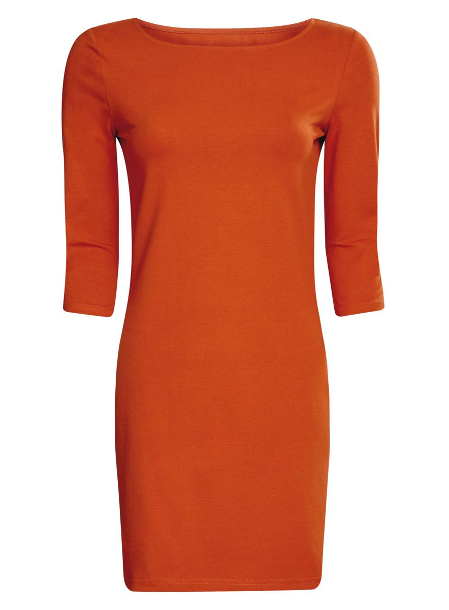 Платье oodji Ultra, цвет: терракотовый. 14001071-2B/46148/3100N. Размер XS (42)14001071-2B/46148/3100NСтильное платье oodji, выполненное из хлопка с добавлением эластана, отлично дополнит ваш гардероб. Модель длины мини с круглым вырезом горловины и рукавами 3/4.