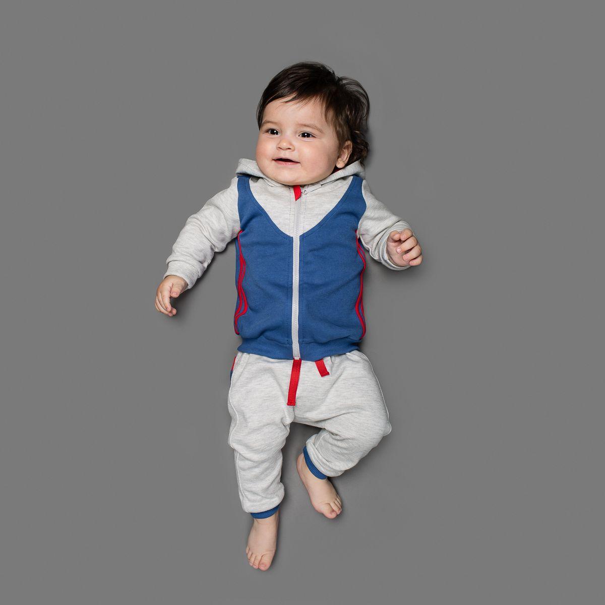 Толстовка для мальчика Ёмаё, цвет: серый меланж, синий. 25-220. Размер 6225-220Толстовка Ёмаё, изготовленная из интерлока - очень удобный и практичный вид одежды для малышей.Толстовка с капюшоном и длинными рукавами застегивается спереди на пластиковую застежку-молнию, что помогает с легкостью переодеть ребенка. Рукава дополнены широкими трикотажными манжетами, не пережимающими запястья ребенка. Понизу проходит широкая трикотажная резинка. По спинке изделие оформлено крупным логотипом бренда. В такой толстовке вашему крохе будет комфортно и он всегда будет в центре внимания.