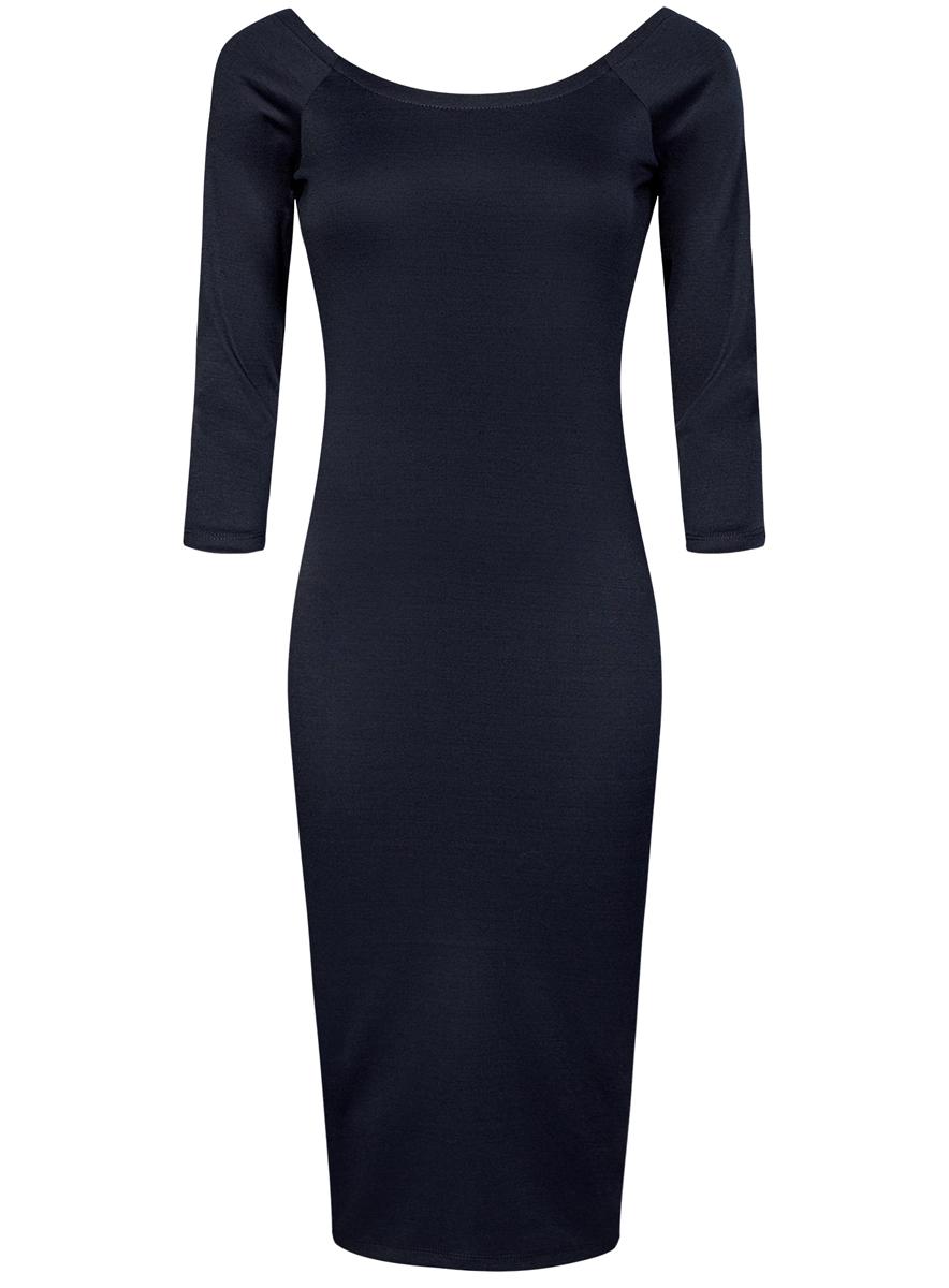 Платье oodji Ultra, цвет: темно-синий. 14017001/42376/7900N. Размер XL (50)14017001/42376/7900NПлатье oodji Ultra выполнено из облегающей ткани. Имеет длину миди, рукава 3/4 и разрез-лодочку воротника, который позволяет носить изделие как с открытыми плечами, так и стандартно.
