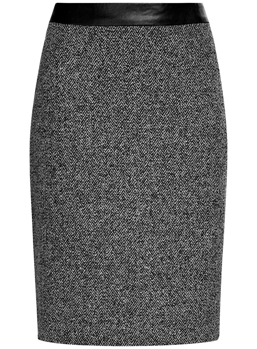 Юбка oodji Collection, цвет: черный, белый. 24101042-3/46082/2912J. Размер S (44)24101042-3/46082/2912JЮбка oodji Collection выполнена из полиэстера с добавлением вискозы. Юбка-карандаш средней длины застегивается на застежку-молнию на спинке. Модель оформлена узором-елочкой.