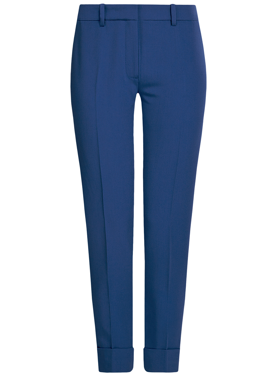 Брюки женские oodji Ultra, цвет: синий. 11703057-2/22398/7500N. Размер 36 (42-170)11703057-2/22398/7500NСтильные женские брюки oodji выполнены из комбинированного материала. Модель со средней посадкой застегивается на молнию, пуговицу и застежку-крючок, имеются шлевки для ремня. Спереди изделие дополнено имитацией двух втачных карманов, сзади двух врезных карманов. Низ брючин оформлен декоративными отворотами.