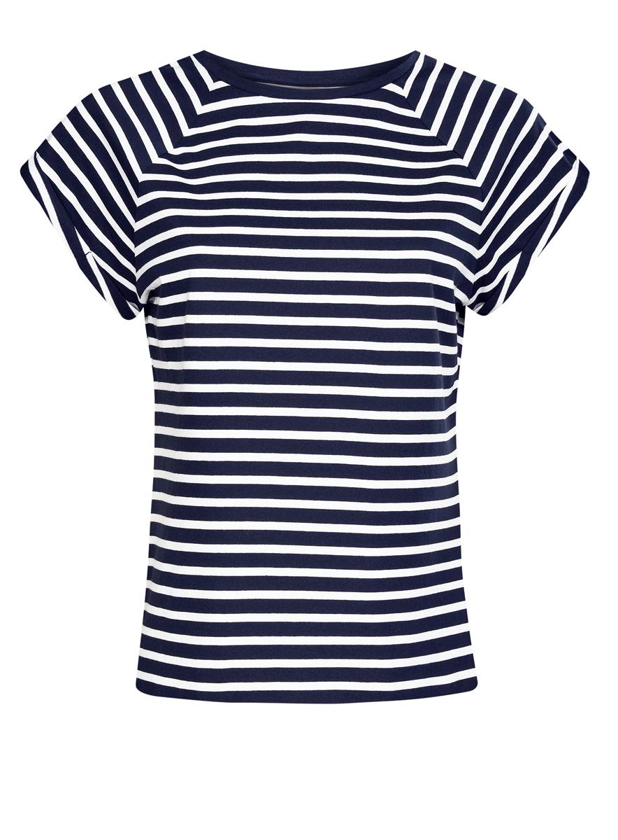 Футболка женская oodji Ultra, цвет: темно-синий, белый. 14707001-4B/46154/7910S. Размер M (46)14707001-4B/46154/7910SЖенская футболка выполнена из хлопка. Модель с круглым вырезом горловины и короткими рукавами реглан, дополненными отворотом.