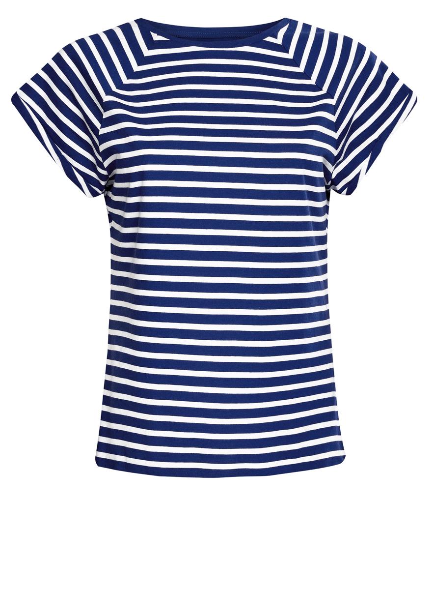 Футболка женская oodji Ultra, цвет: синий, белый. 14707001-4B/46154/7510S. Размер XXS (40)14707001-4B/46154/7510SЖенская футболка выполнена из хлопка. Модель с круглым вырезом горловины и короткими рукавами реглан, дополненными отворотом.