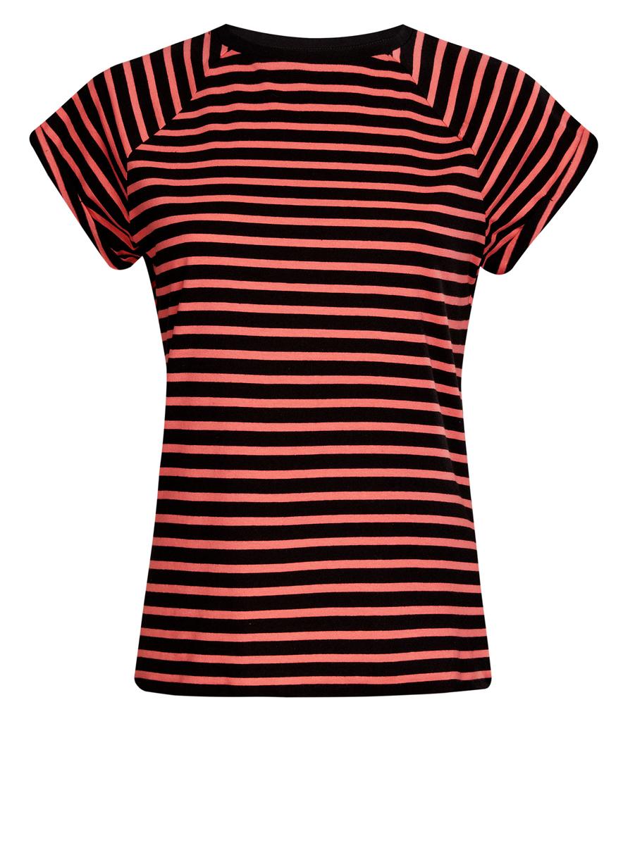 Футболка женская oodji Ultra, цвет: черный, коралловый. 14707001-4B/46154/2943S. Размер L (48)14707001-4B/46154/2943SЖенская футболка выполнена из хлопка. Модель с круглым вырезом горловины и короткими рукавами реглан, дополненными отворотом.