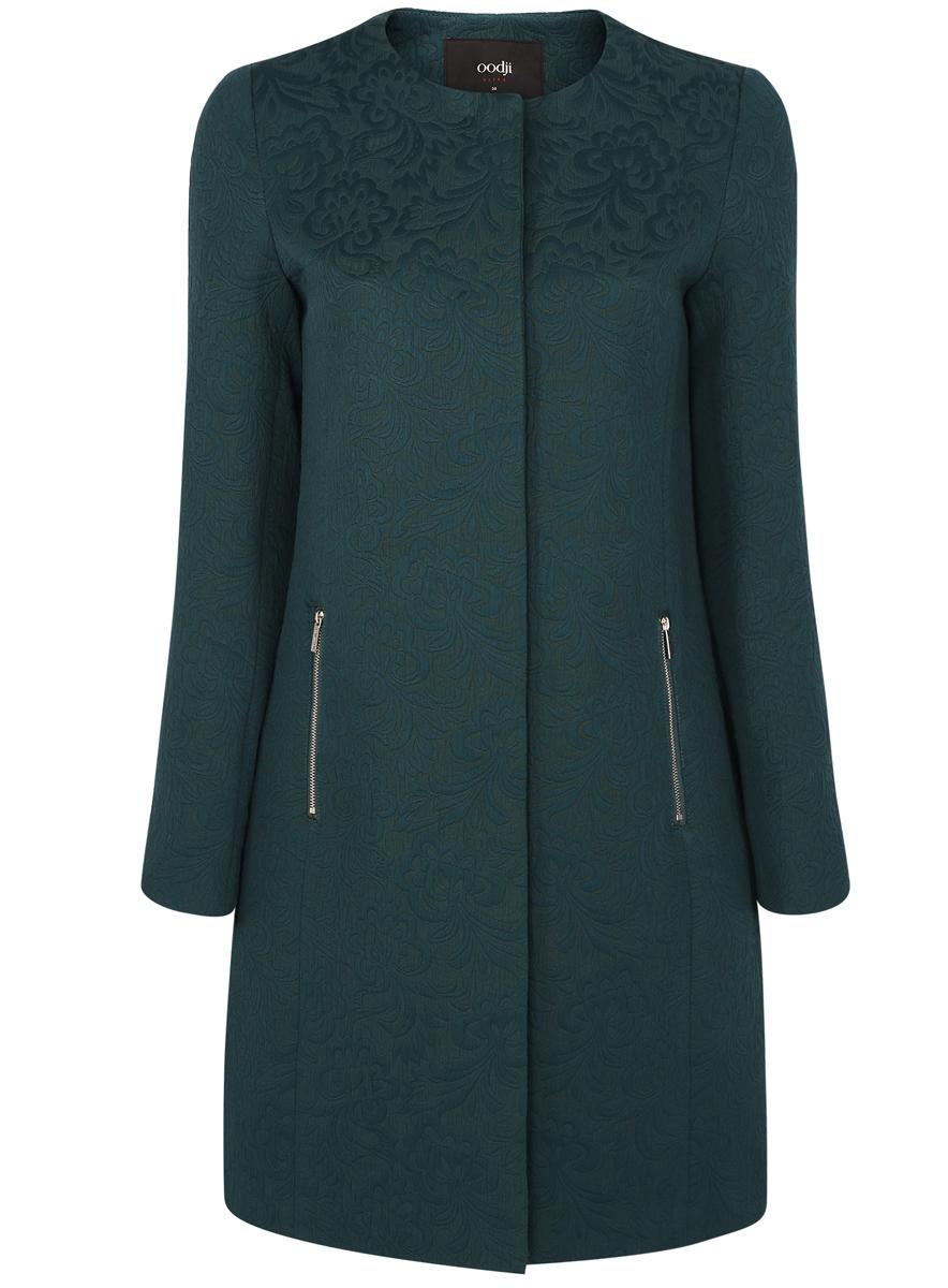 Пальто женское oodji Ultra, цвет: темно-изумрудный. 10103010-3/33289/6E00N. Размер 38 (44-170)10103010-3/33289/6E00NЖенское пальто oodji Ultra выполнено из хлопка с добавлением полиэстера. В качестве подкладки используется 100% полиэстер. Модель с круглым вырезом горловины и длинными рукавами застёгивается на кнопки по всей длине. Спереди расположено два прорезных кармана на застежках-молниях. Пальто оформлено оригинальным узором.