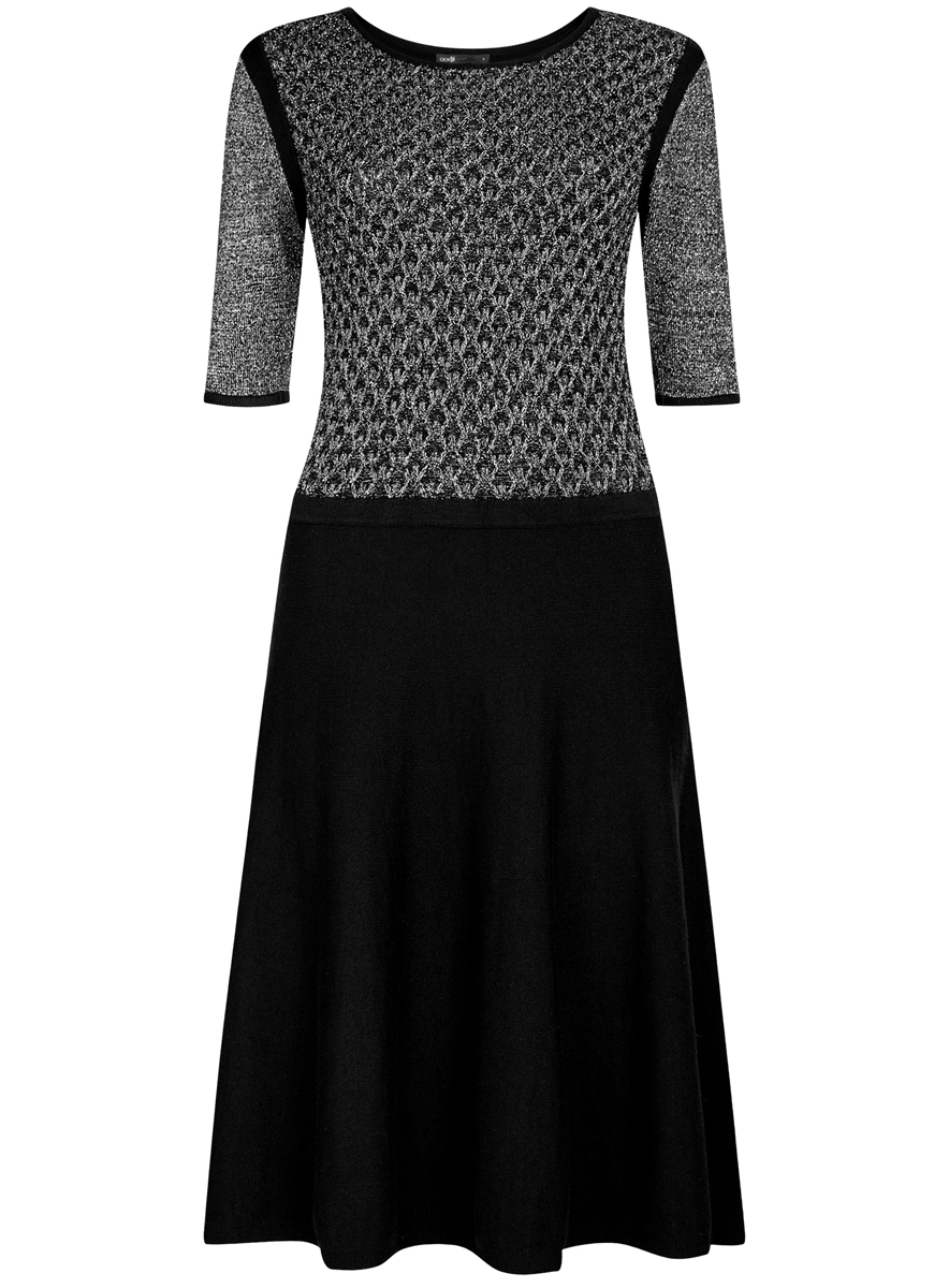 Платье oodji Ultra, цвет: черный, серебристый. 63912215/42963/2900X. Размер L (48)63912215/42963/2900XПлатье oodji Ultra изготовлено из вискозы с добавлением полиэстера и полиамида. Передняя часть верха и рукава выполнены с добавлением блестящей металлизированной нити. Модель без застежки с круглым вырезом и короткими рукавами.
