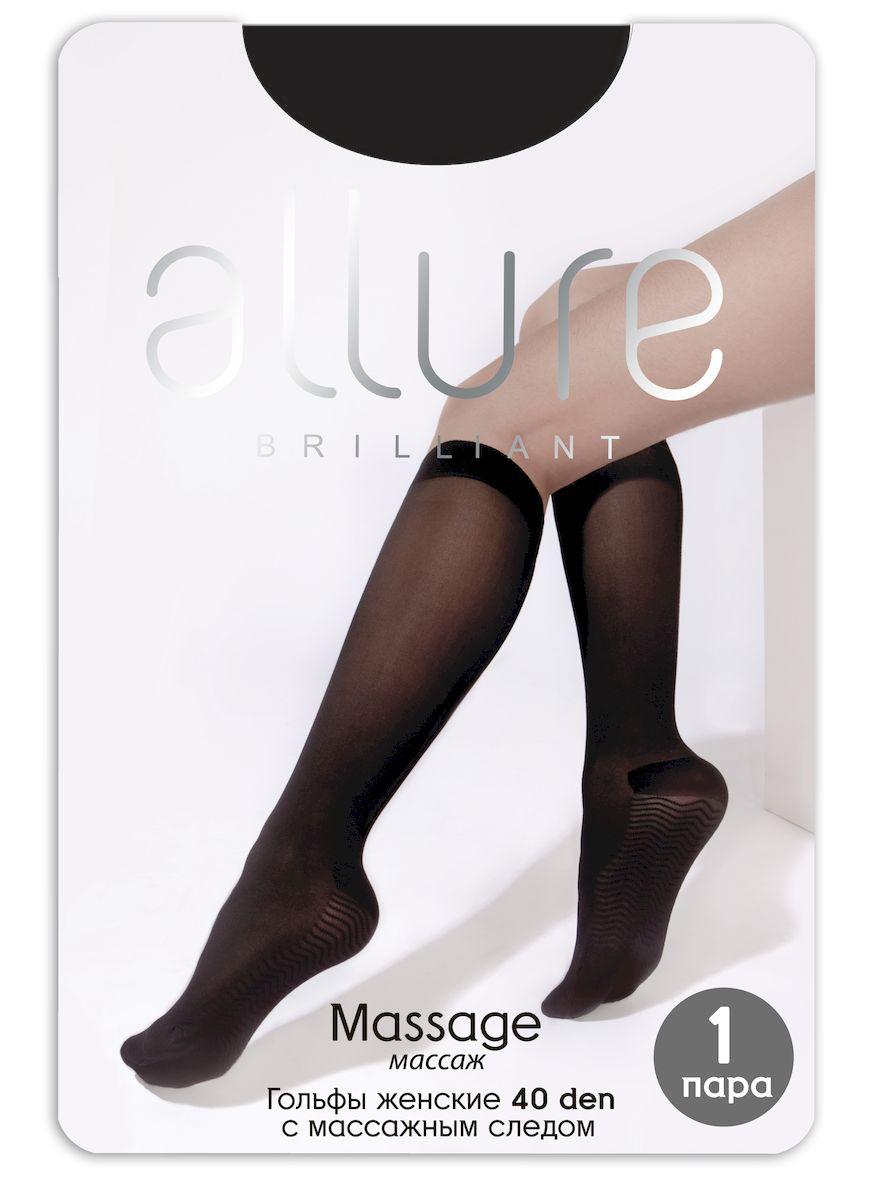 Гольфы Allure Massage 40, цвет: Nero (черный). Размер универсальныйMassage 40Плотные эластичные гольфы с массажным следом и резинкой топ-комфорт. За счет неоднородной поверхности обеспечивают мягкий точечный массаж стопы.