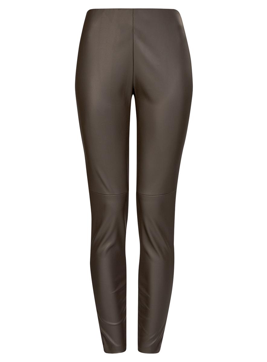 Брюки женские oodji Ultra, цвет: серый. 18G07001/45085/2901N. Размер 42 (48-170)18G07001/45085/2901NСтильные женские брюки oodji Ultra выполнены из искусственной кожи. Модель на талии дополнена широкой эластичной резинкой, сбоку потайной застежкой-молнией. Брюки-скинни со средней линией талии. Низ брючин регулируется по ширине за счет молний.