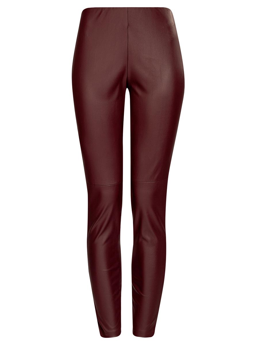 Брюки женские oodji Ultra, цвет: бордовый. 18G07001/45085/4900N. Размер 42 (48-170)18G07001/45085/4900NСтильные женские брюки oodji Ultra выполнены из искусственной кожи. Модель на талии дополнена широкой эластичной резинкой, сбоку потайной застежкой-молнией. Брюки-скинни со средней линией талии. Низ брючин регулируется по ширине за счет молний.