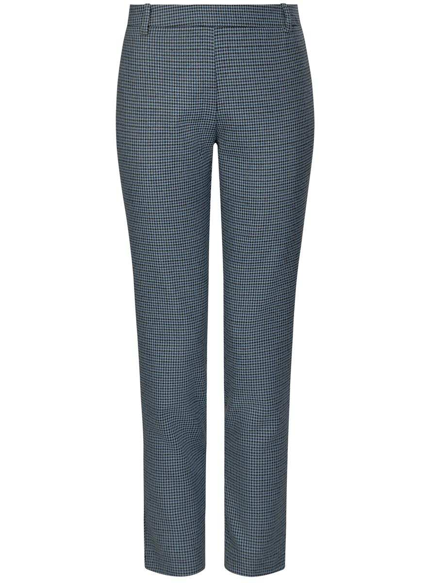 Брюки женские oodji Ultra, цвет: голубой, черный. 11700209-1/22124/7029C. Размер 36 (42-170)11700209-1/22124/7029CЖенские брюки oodji Ultra стандартной посадки изготовлены из полиэстера с добавлением вискозы. Сбоку брюки застегиваются на металлическую застежку молнию, на поясе дополнены шлевками для ремня. Сзади изделие дополнено имитацией прорезных кармашков.