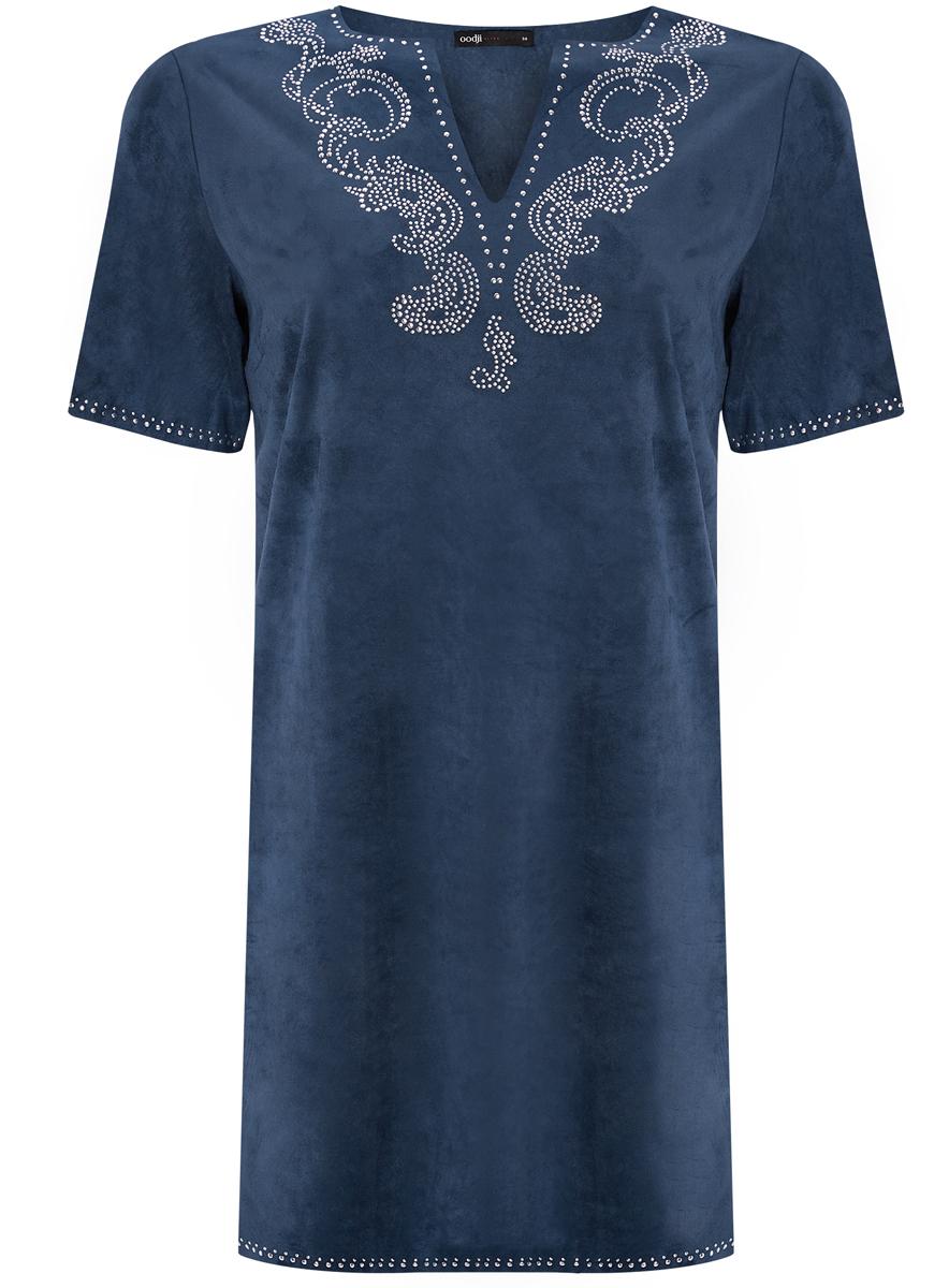 Платье oodji Ultra, цвет: темно-синий. 18L01001/45622/7900N. Размер 34 (40-170)18L01001/45622/7900NСтильное платье oodji Ultra выполнено из мягкой искусственной замши. Модель с V-образным вырезом горловины и короткими рукавами оформлена аппликацией из металлических страз.