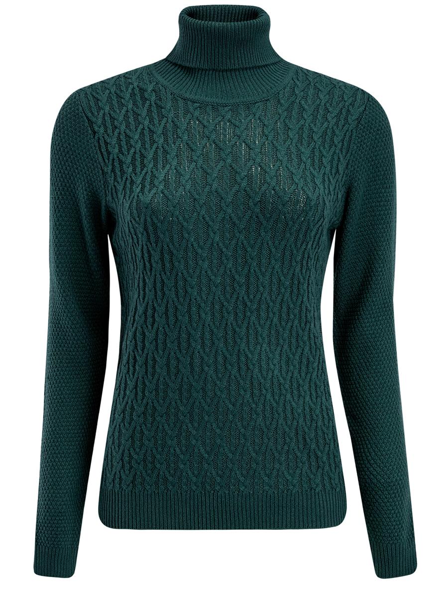 Свитер женский oodji, цвет: темно-зеленый. 74407101/43385/6900N. Размер S (44)74407101/43385/6900NСтильный женский свитер выполнен из качественной комбинированной пряжи. Модель с воротником-гольф и длинными рукавами. Горловина, манжеты и низ изделия связаны резинкой.
