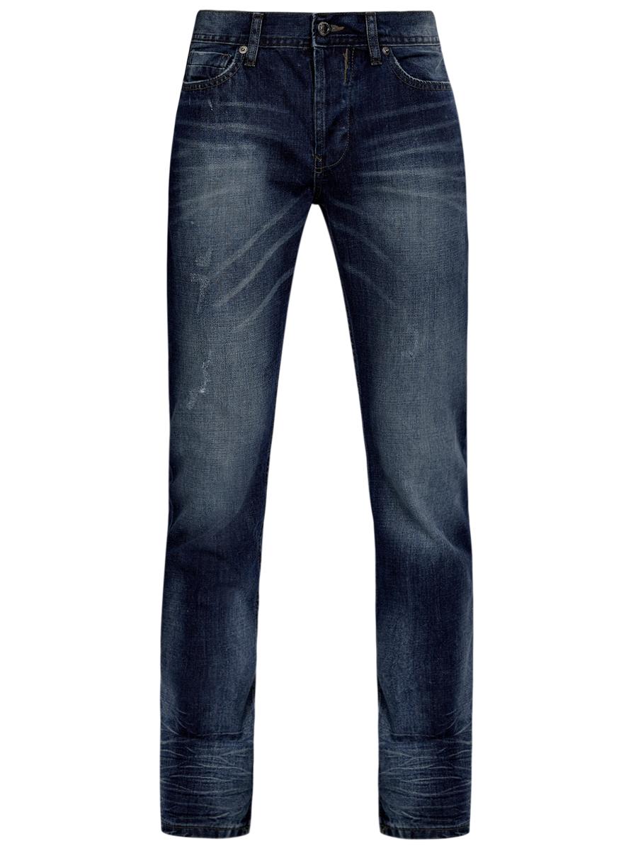 Джинсы мужские oodji, цвет: синий. 6L130045M/35771/7500W. Размер 32-34 (50-34)6L130045M/35771/7500WМужские джинсы oodji выполнены из высококачественного натурального хлопка. Джинсы прямого кроя и стандартной посадки застегиваются на пуговицу в поясе и ширинку на пуговицах, дополнены шлевками для ремня. Джинсы имеют классический пятикарманный крой: спереди модель дополнена двумя втачными карманами и одним маленьким накладным кармашком, а сзади - двумя накладными карманами. Джинсы украшены декоративными потертостями и перманентными складками.