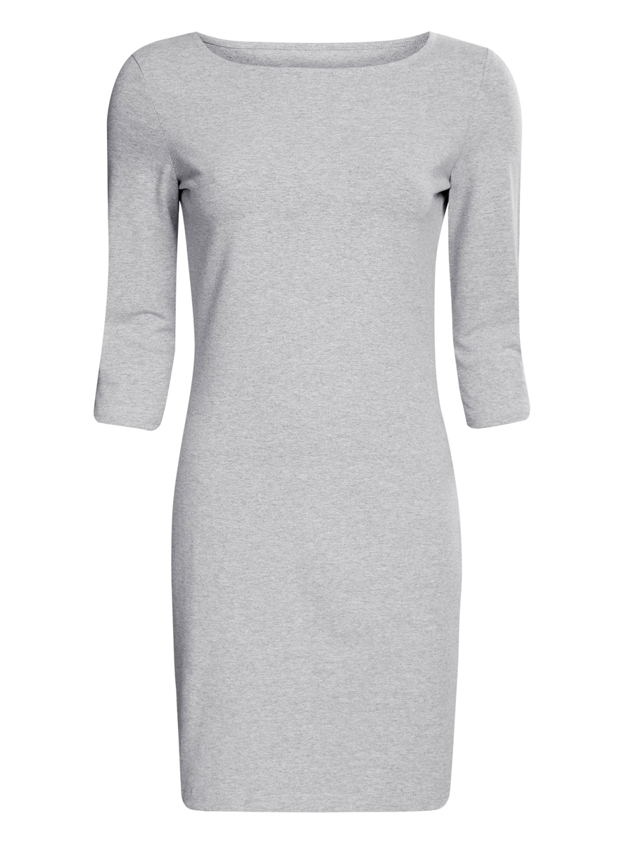 Платье oodji Ultra, цвет: светло-серый меланж. 14001071-2B/46148/2000M. Размер XXS (40)14001071-2B/46148/2000MСтильное платье oodji, выполненное из хлопка с добавлением эластана, отлично дополнит ваш гардероб. Модель длины мини с круглым вырезом горловины и рукавами 3/4.