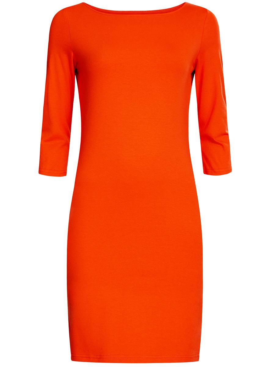 Платье oodji Ultra, цвет: красный. 14001071-2B/46148/4500N. Размер M (46)14001071-2B/46148/4500NСтильное платье oodji, выполненное из хлопка с добавлением эластана, отлично дополнит ваш гардероб. Модель длины мини с круглым вырезом горловины и рукавами 3/4.