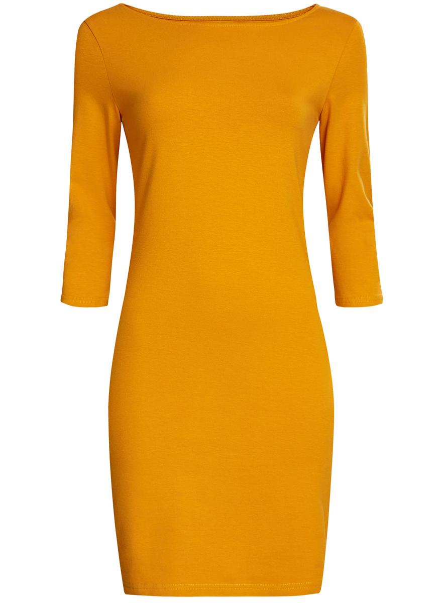 Платье oodji Ultra, цвет: ярко-желтый. 14001071-2B/46148/5200N. Размер XS (42)14001071-2B/46148/5200NСтильное платье oodji, выполненное из хлопка с добавлением эластана, отлично дополнит ваш гардероб. Модель длины мини с круглым вырезом горловины и рукавами 3/4.