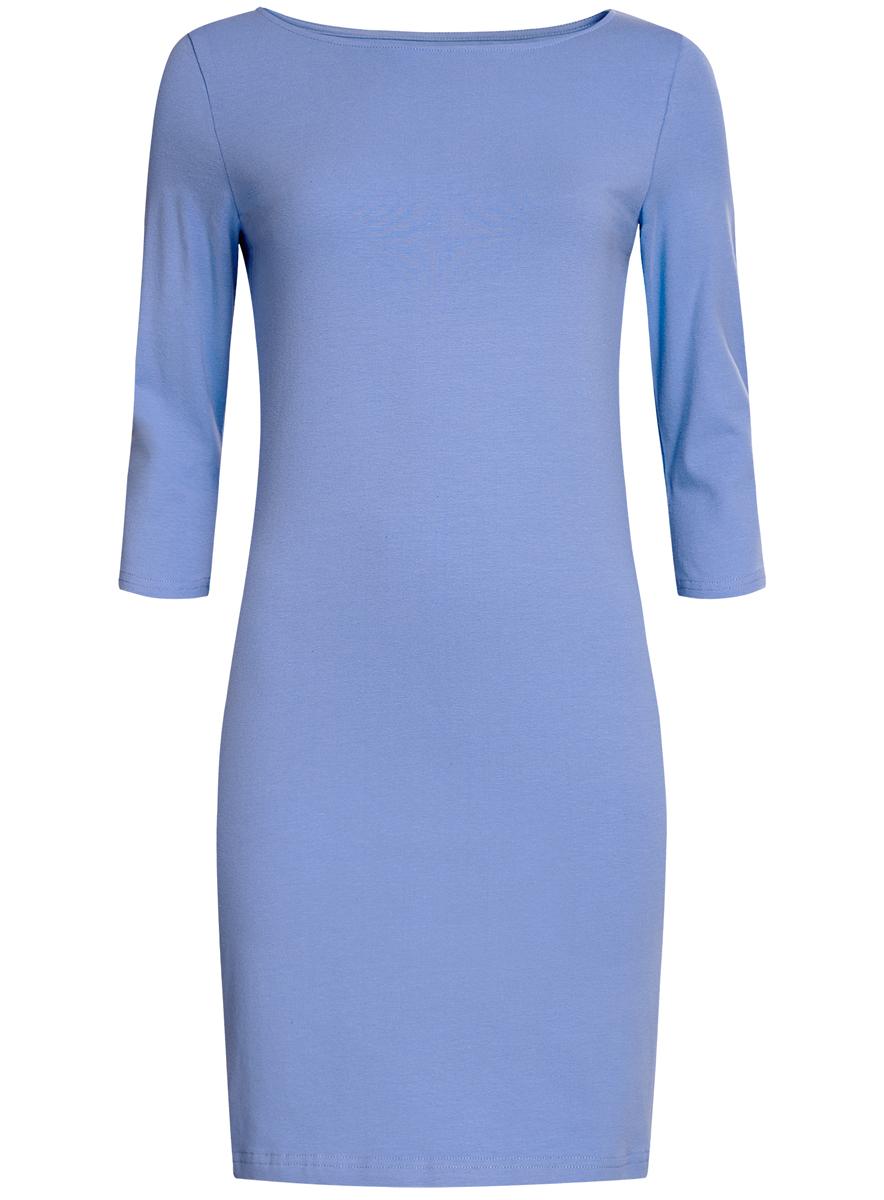 Платье oodji Ultra, цвет: голубой. 14001071-2B/46148/7501N. Размер L (48)14001071-2B/46148/7501NСтильное платье oodji, выполненное из хлопка с добавлением эластана, отлично дополнит ваш гардероб. Модель длины мини с круглым вырезом горловины и рукавами 3/4.