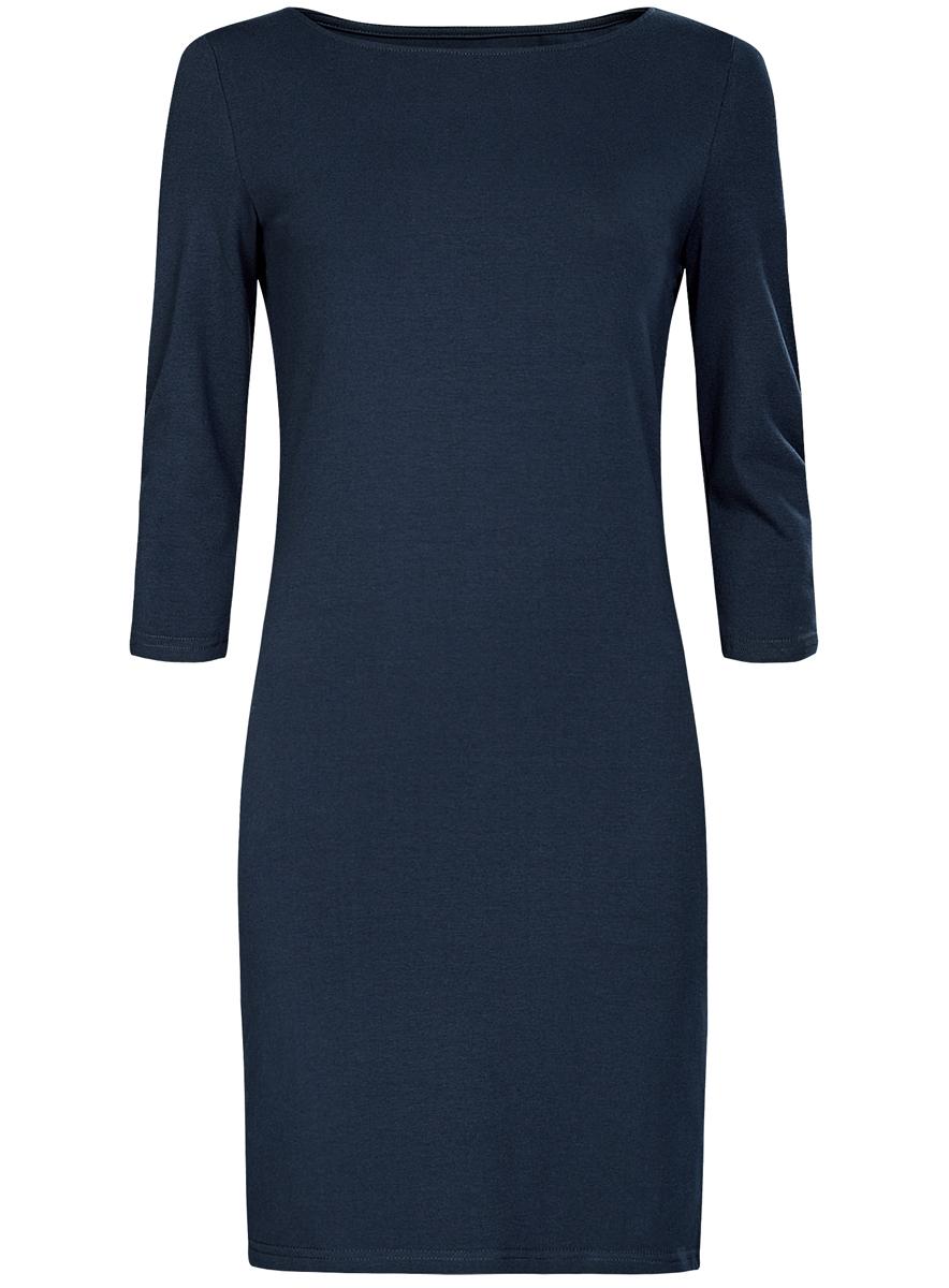 Платье oodji Ultra, цвет: темно-синий. 14001071-2B/46148/7900N. Размер S (44)14001071-2B/46148/7900NСтильное платье oodji, выполненное из хлопка с добавлением эластана, отлично дополнит ваш гардероб. Модель длины мини с круглым вырезом горловины и рукавами 3/4.