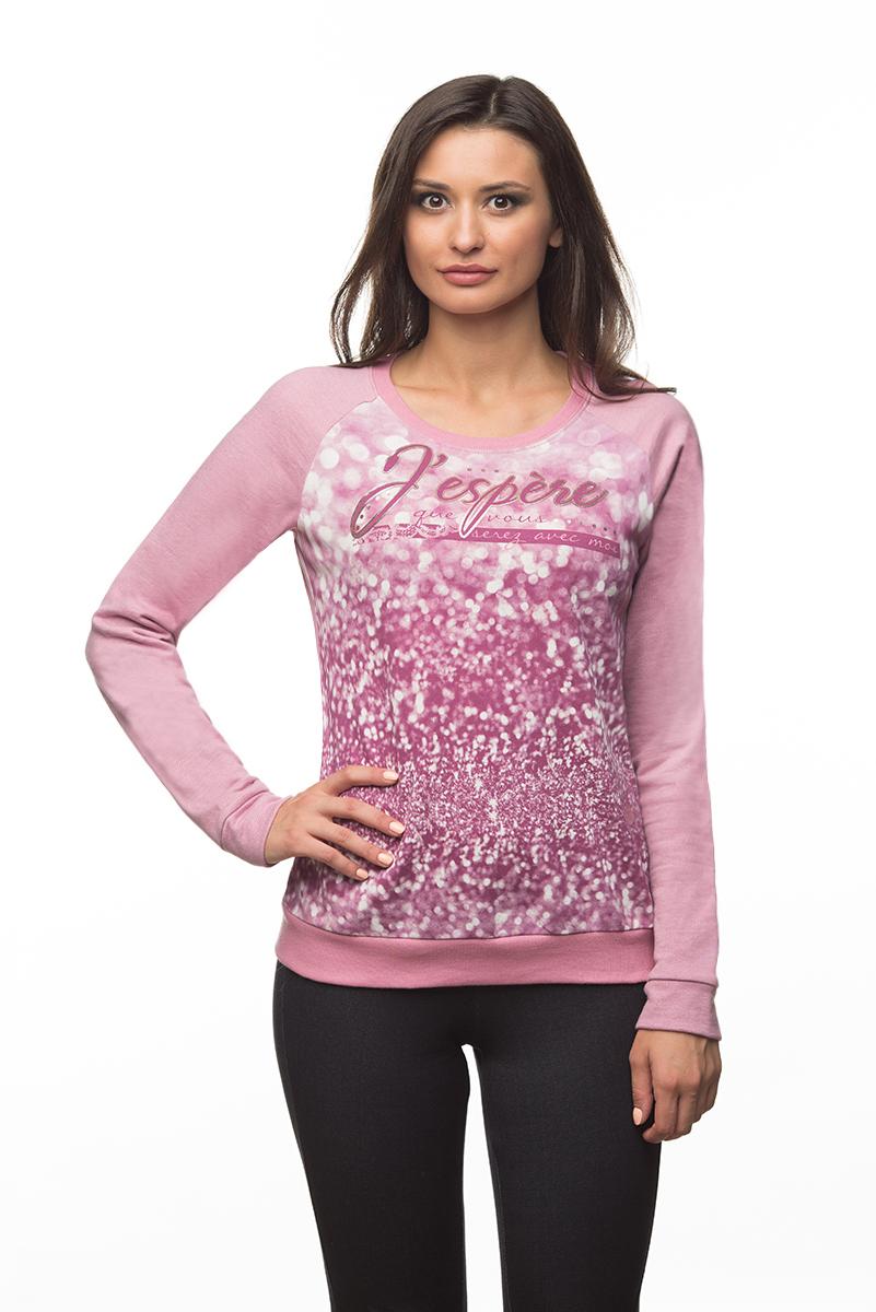 Свитшот женский BeGood, цвет: розовый, белый. AW16-BGUZ-704. Размер S (44)AW16-BGUZ-704Женский свитшот BeGood выполнен из натурального хлопка. Изнаночная сторона изделия с небольшими петельками. Модель с круглым вырезом горловины и длинными рукавами-реглан оформлена спереди принтом и украшена надписями с элементами термоаппликации. Вырез горловины и низ свитшота дополнены трикотажными резинками. На рукавах предусмотрены манжеты.