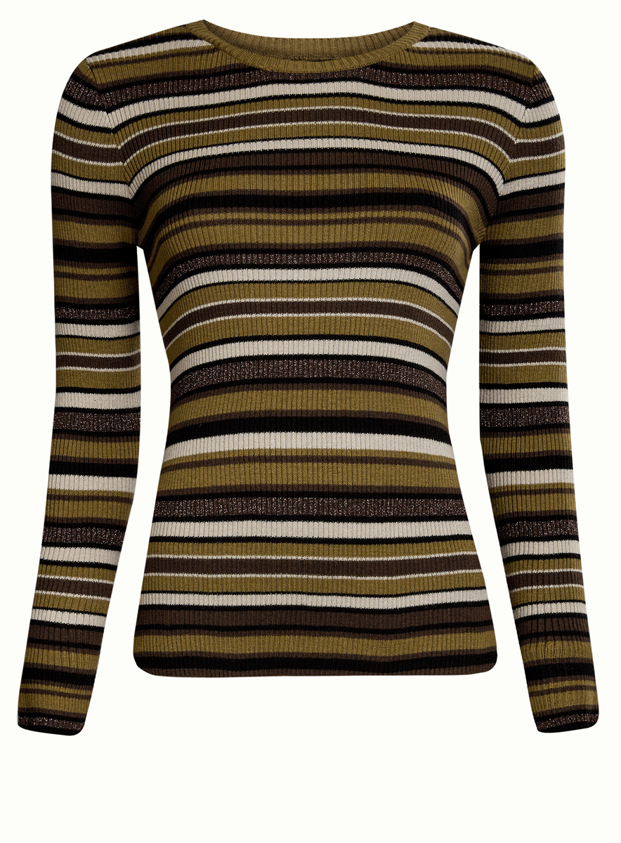 Джемпер женский oodji Ultra, цвет: темный хаки, черный, коричневый. 63812577/45946/6829S. Размер L (48)63812577/45946/6829SСтильный женский джемпер oodji Ultra выполнен из хлопка, полиэстера, вискозы и металлизированной нити.Связанная резинкой модель с длинными рукавами и круглым вырезом горловины оформлена принтом в полоску. Металлизированная нить изделия сделает вас заметной!