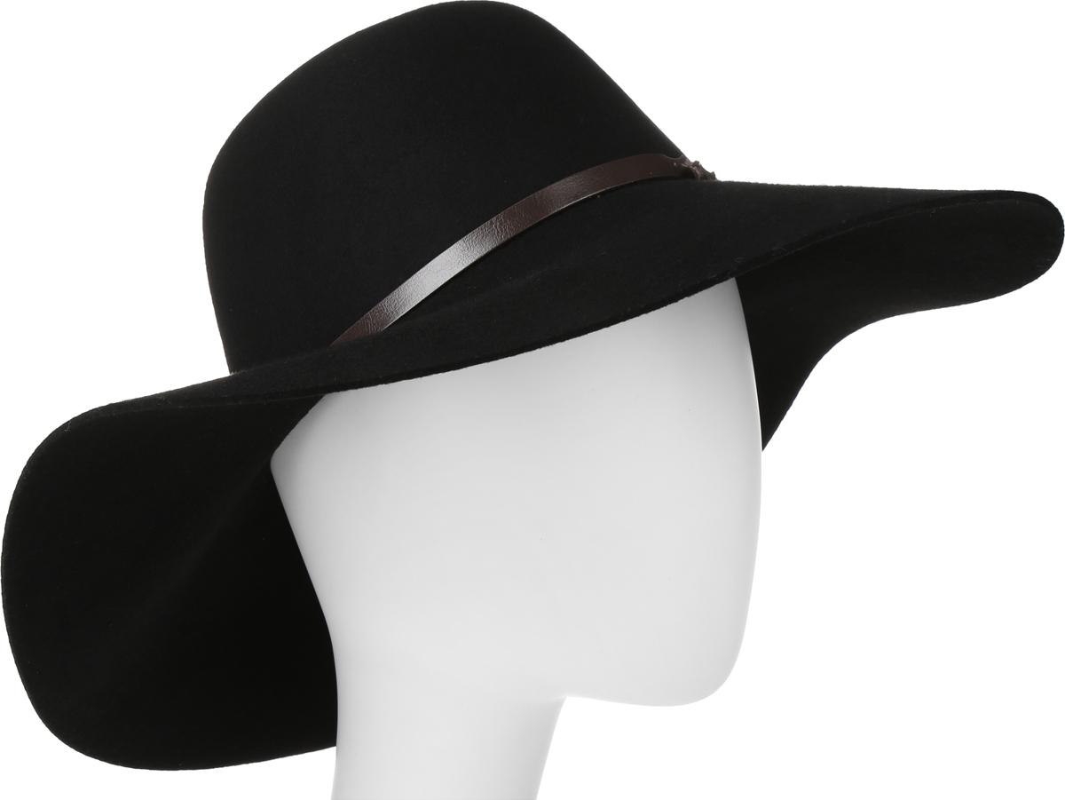 Шляпа женская Goorin Brothers, цвет: черный. 605-9709. Размер S (55)605-9709Элегантная шляпа Goorin Brothers, выполненная из высококачественного тонкого фетра, дополнит любой образ. Модель с невысокой тульей и широкими полями. Внутри модель дополнена плотной тесьмой для комфортной посадки изделия по голове. Шляпа-флоппи по тулье оформлена тонким ремешком, который спереди отмечен логотипом Goorin Bros.Такая шляпа подчеркнет вашу неповторимость и прекрасный вкус.